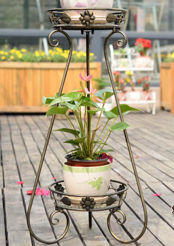 欧式双层铁艺花架阳台客厅花盆架