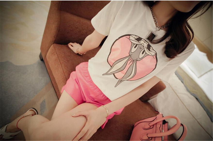 韩国可爱卡通兔八哥短袖t恤