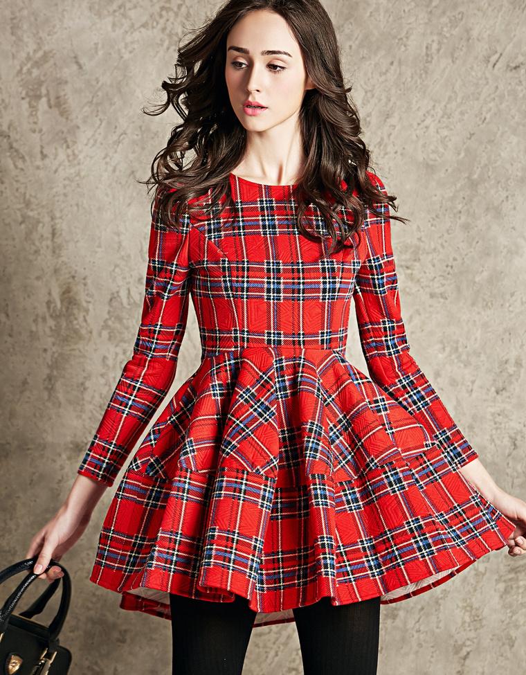 2015春新款韩版格纹连衣裙