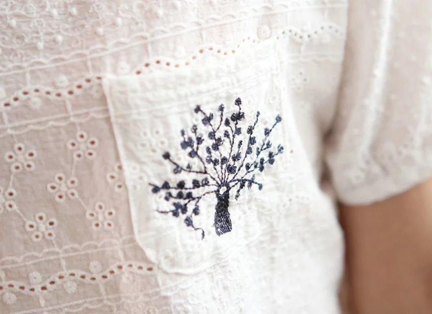 大树镂空刺绣t恤