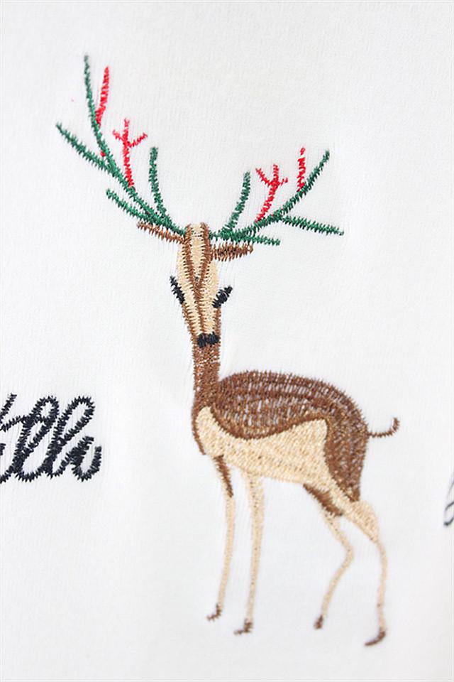 优质甜美可爱小鹿刺绣字母短袖t