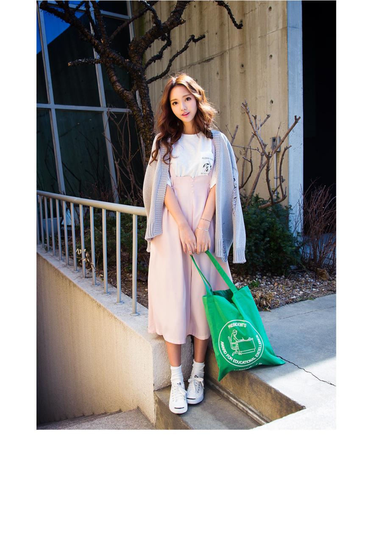 71减龄款71扣子点缀高腰背带裙-来自蘑菇街优店