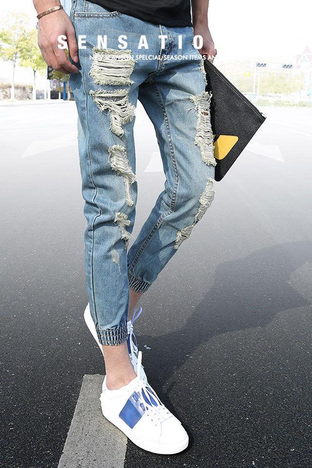夏季男士大破洞修身牛仔裤