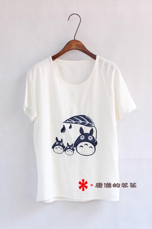 春夏新款,圆领白t恤,卡通可爱的动物贴布刺绣,质量超级棒,推荐