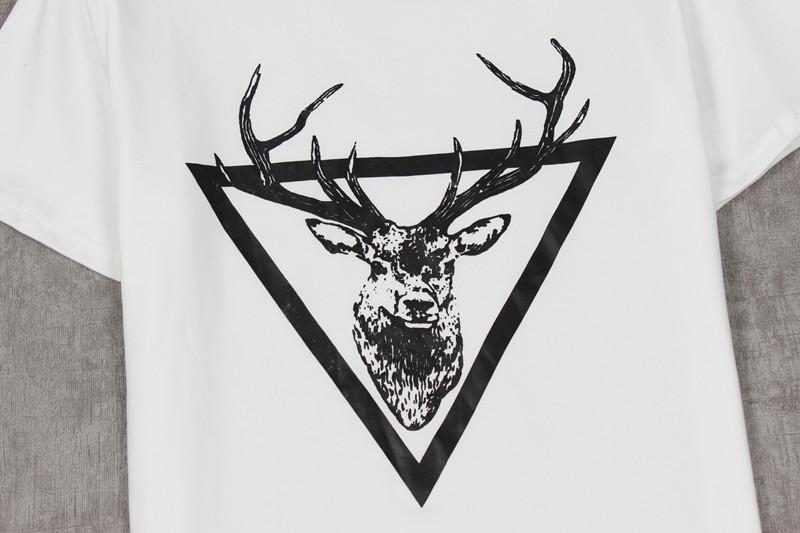 尺码材质 size 袖长:短袖  领型:圆领  材质:棉  图案:小鹿,几何,鹿头