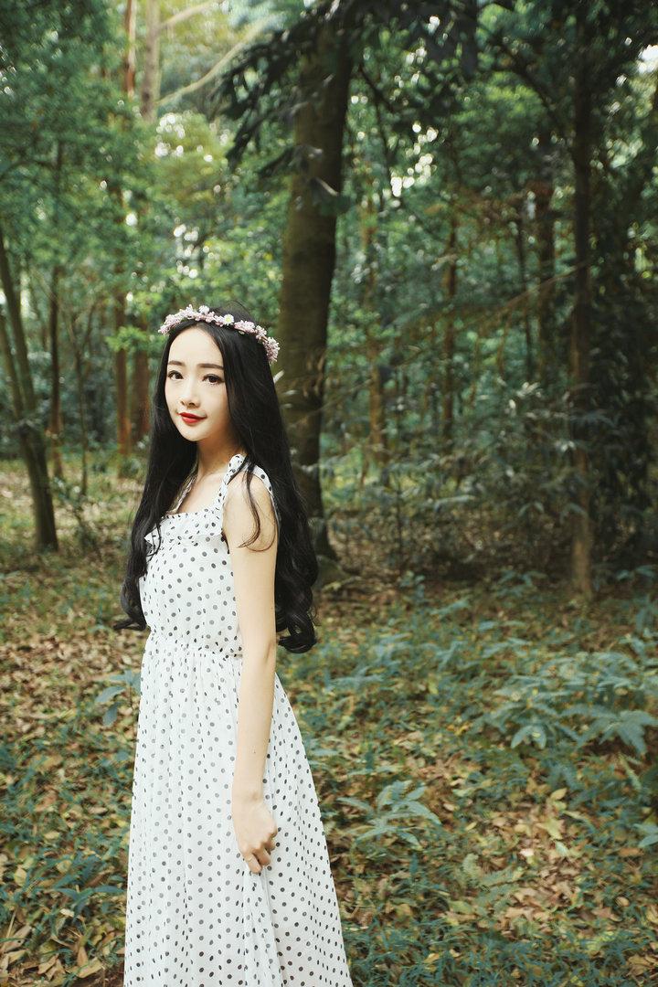韩版小清新女神范露背仙女长裙