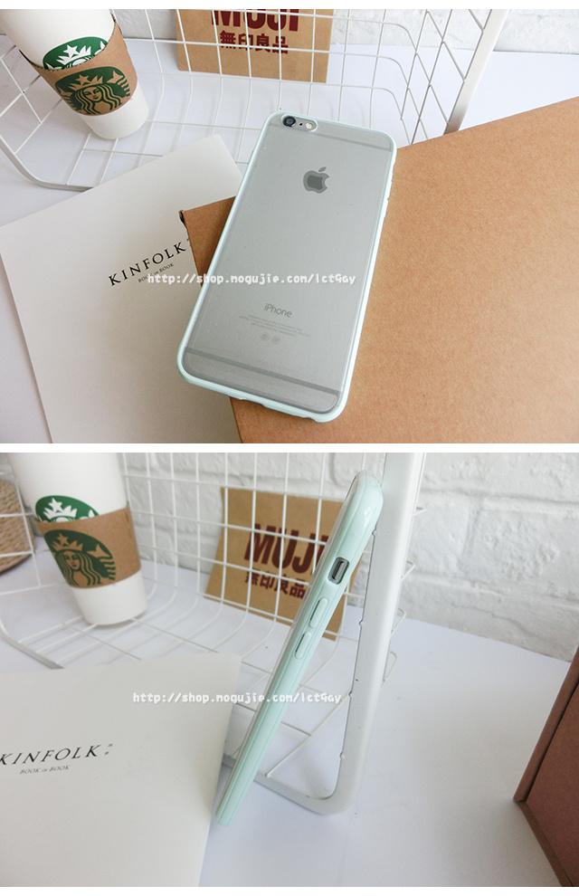 小清新糖果色边框半透苹果手机壳
