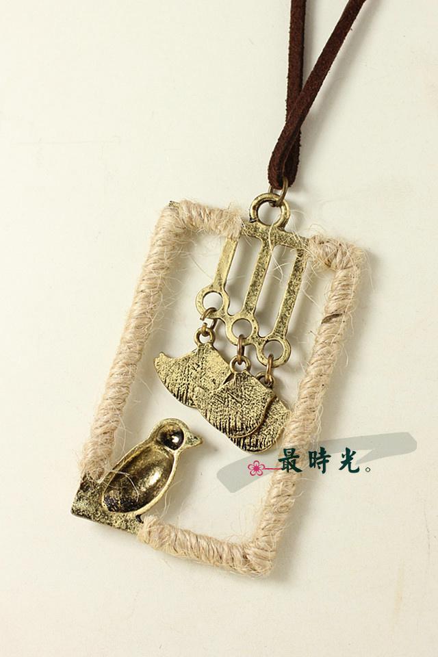 小鸟款 手工麻绳编织皮绳项链