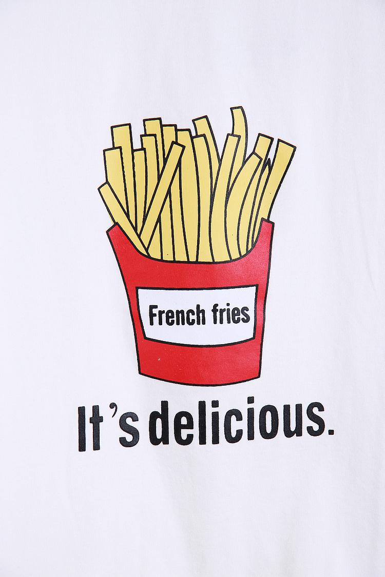 卡通薯条印花短款t恤