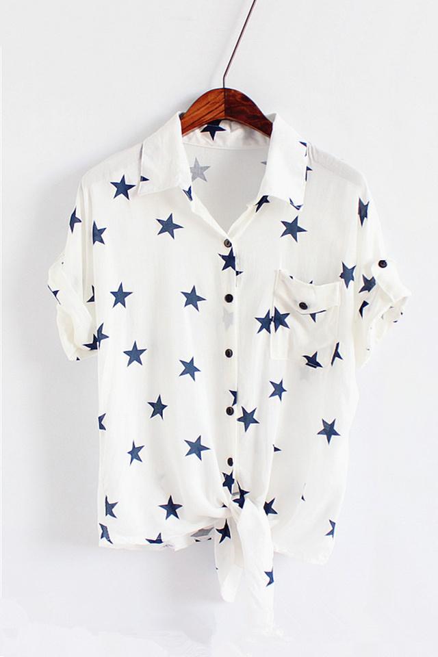 韩版可爱小猫头短袖纯棉衬衫