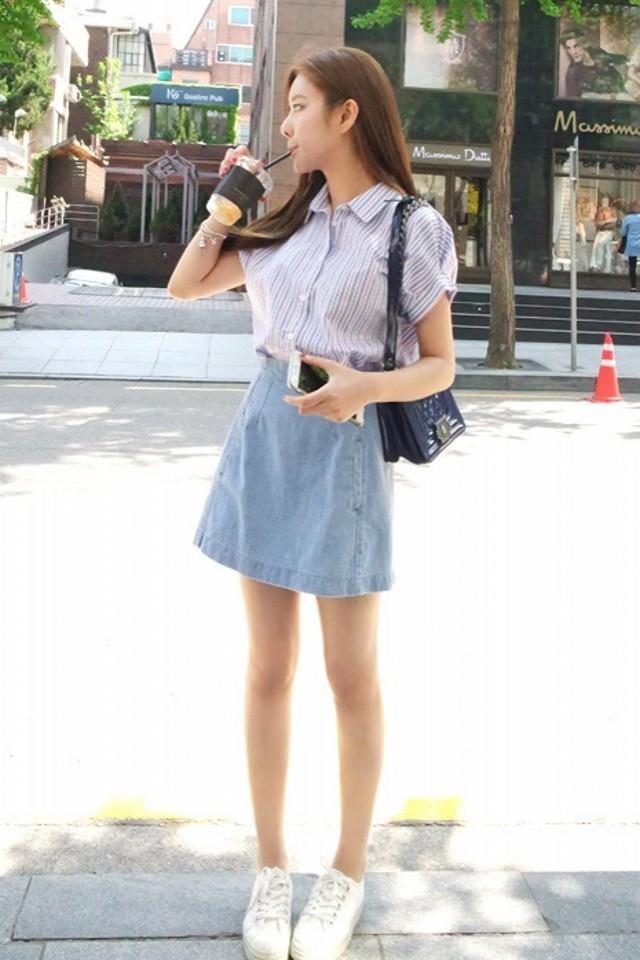 韩国 小清新牛仔短裙