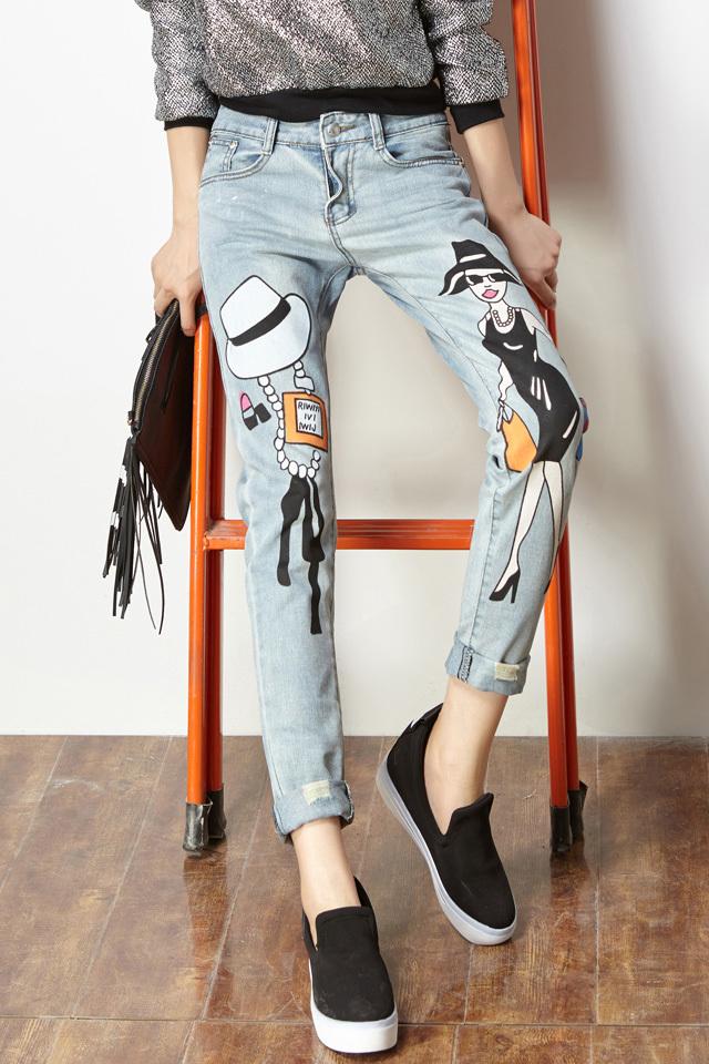 【韩版卡通人物图案哈伦牛仔裤】-衣服-牛仔裤_裤子