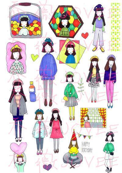 【预售】乔薇の手帐贴手绘女孩