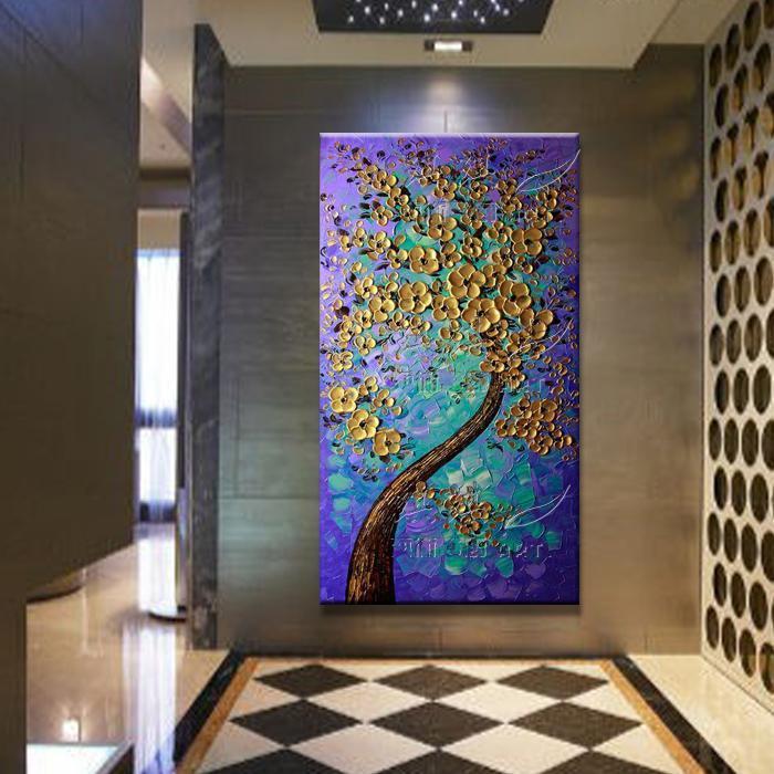 玄关装饰画竖版无框画墙画壁画  手绘油画金色发财树厚油
