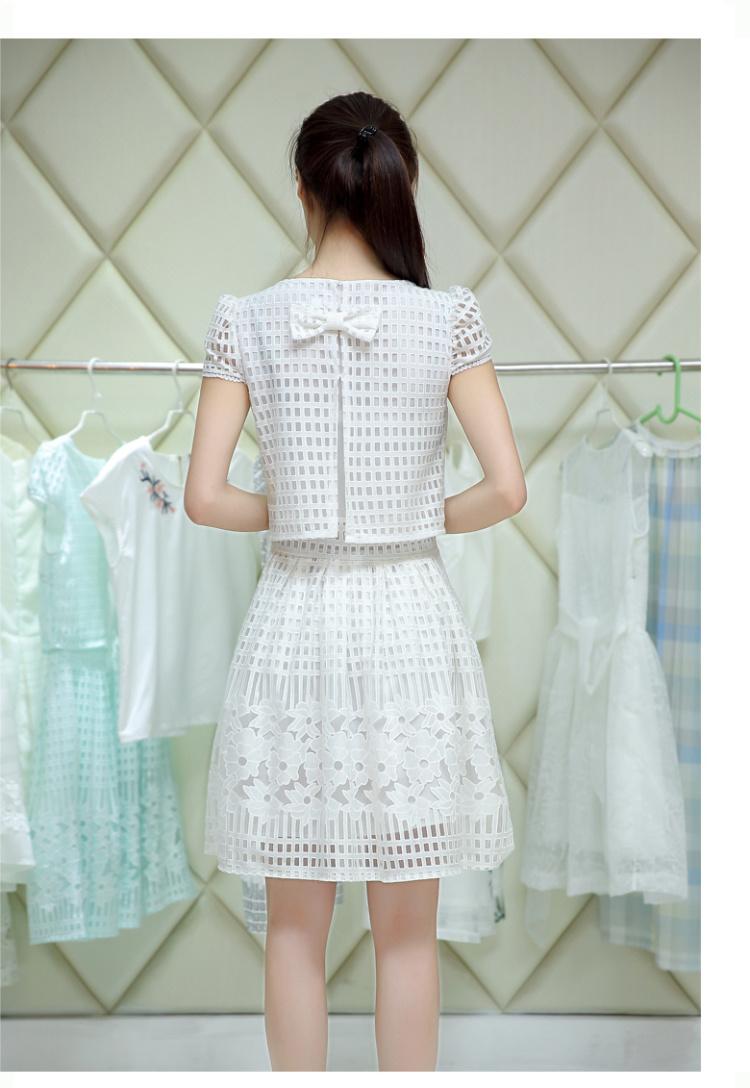 韩版小清新网格连衣裙