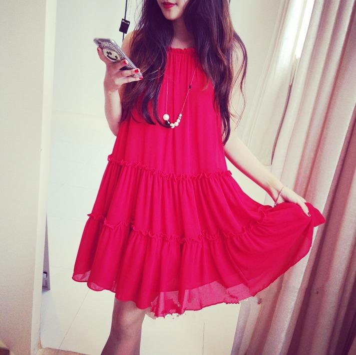 【宽松娃娃款吊带红色雪纺连衣裙】-衣服-裙子