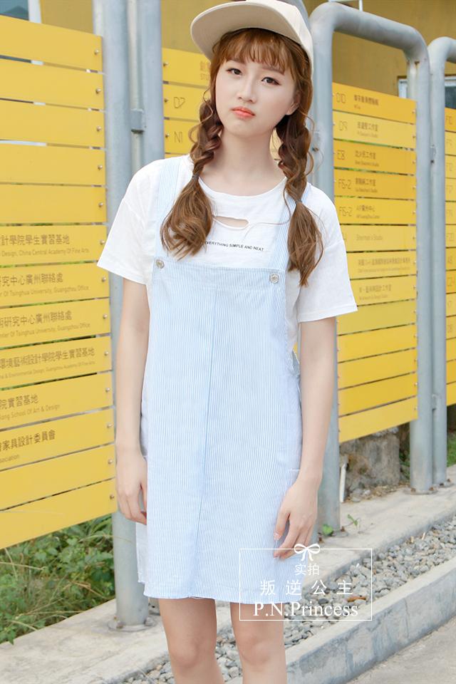 小清新条纹背带裙】-衣服-连衣裙