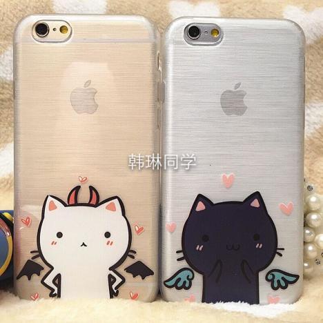 可爱猫咪苹果5,5s,6,6p情侣手机壳全包拉丝无味手机壳