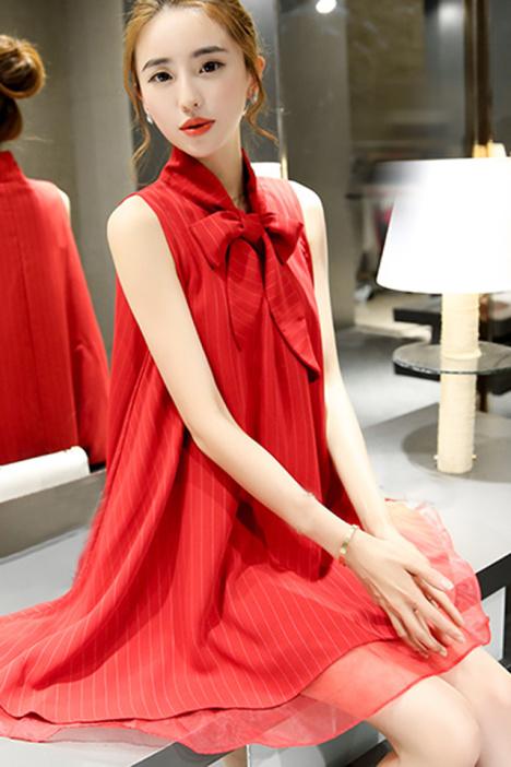 【优雅气质欧根纱红色连衣裙】-连衣裙