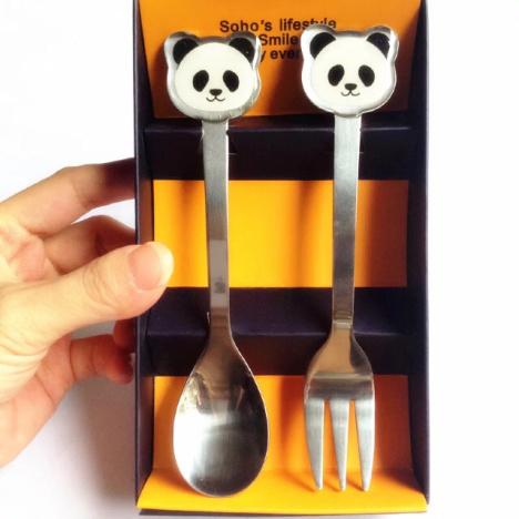 超级萌萌哒熊猫可爱小刀勺套装