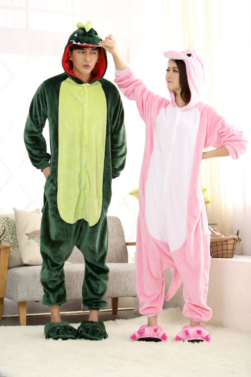 冬情侣男女可爱卡通动物恐龙睡衣