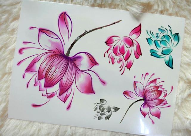 莲花纹身贴分享展示