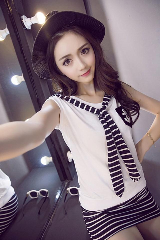 【超级女生】条纹领带t恤 条纹包臀裙套装