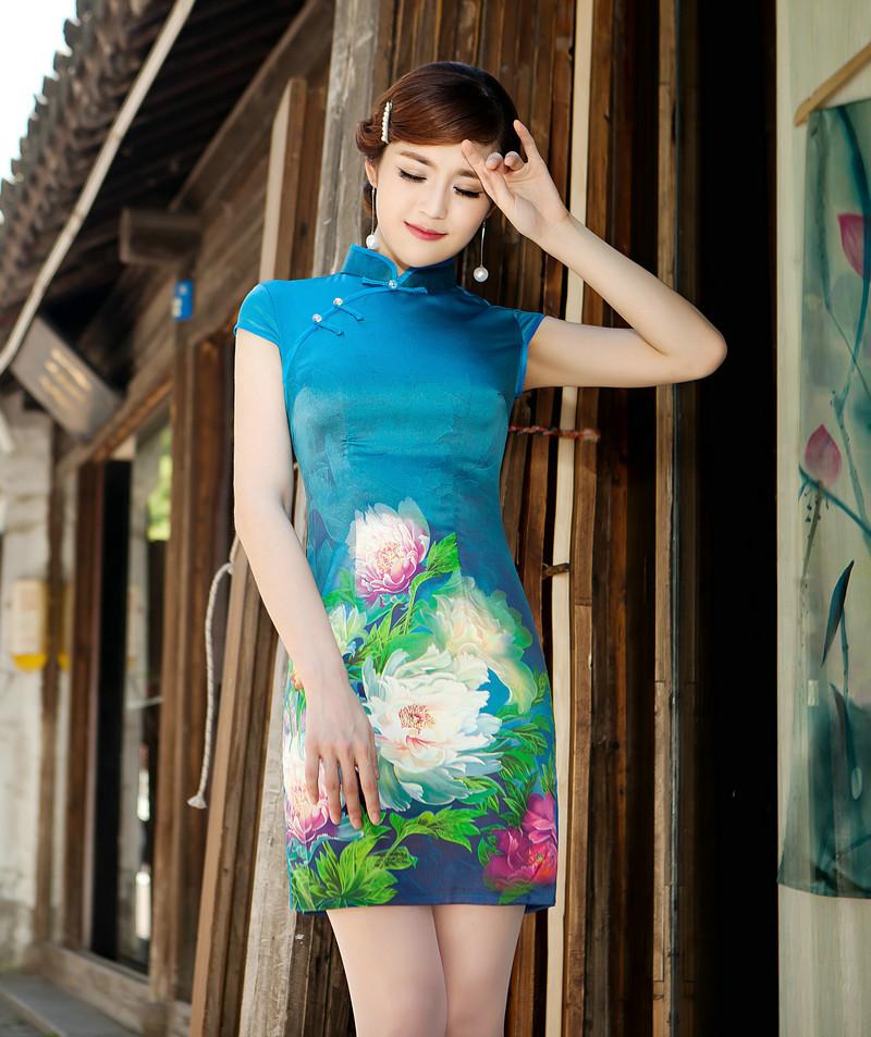 夏装女装真丝旗袍连衣裙 中式复古日常旗袍 礼服旗袍