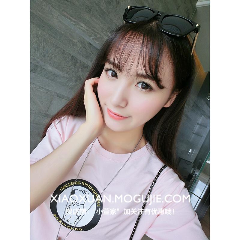 韩版百搭可爱小白熊图案短款宽松t恤