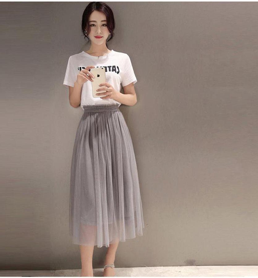 【百搭短袖t恤+网纱半身裙套装】-衣服-套装/学生