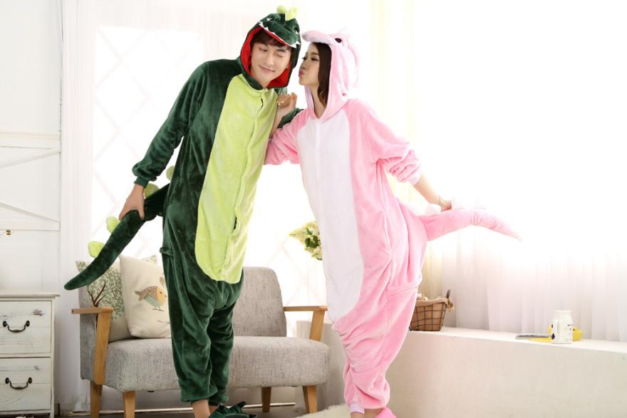 【冬情侣男女可爱卡通动物恐龙睡衣】-内衣-女士内衣
