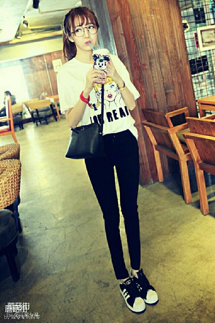 韩国可爱雀斑女孩儿头像短袖