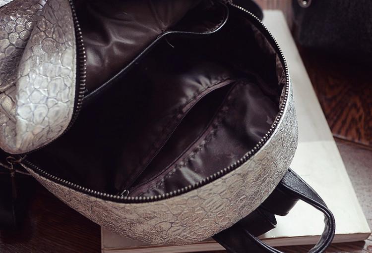 【【百优】朴信惠韩范蛇皮纹石头纹双肩包】-包包-包