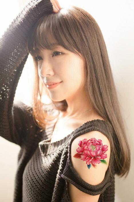 【纹墨轩牡丹花纹身贴小清新纹身贴纸【单张】】