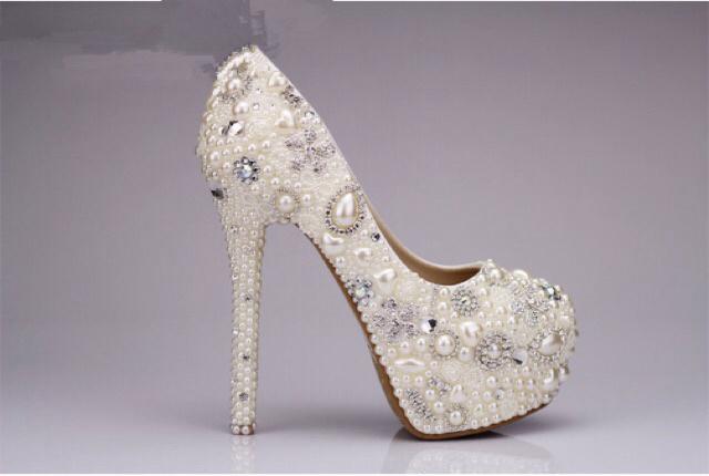 女款手工珍珠水晶高跟鞋 新娘婚礼宴会礼服钻石水晶鞋 女士单鞋