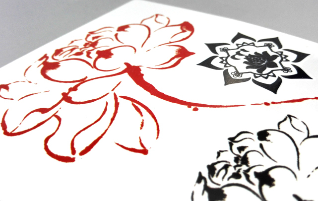 【高端原创】清新莲花荷花水墨防水纹身贴纸