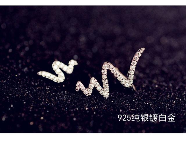 【925银针韩版不对称心电图耳钉】-配饰-女士配饰