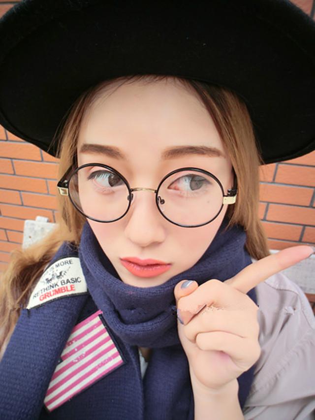 韩版小清新文艺圆框平光镜