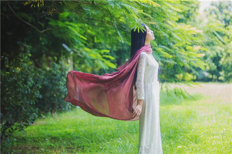 夏季纯色棉麻大围巾 中国风田园