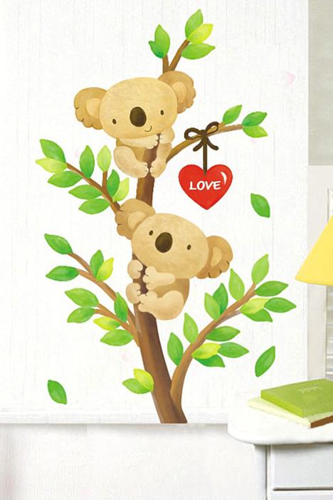 【简一】可爱卡通小熊墙贴画