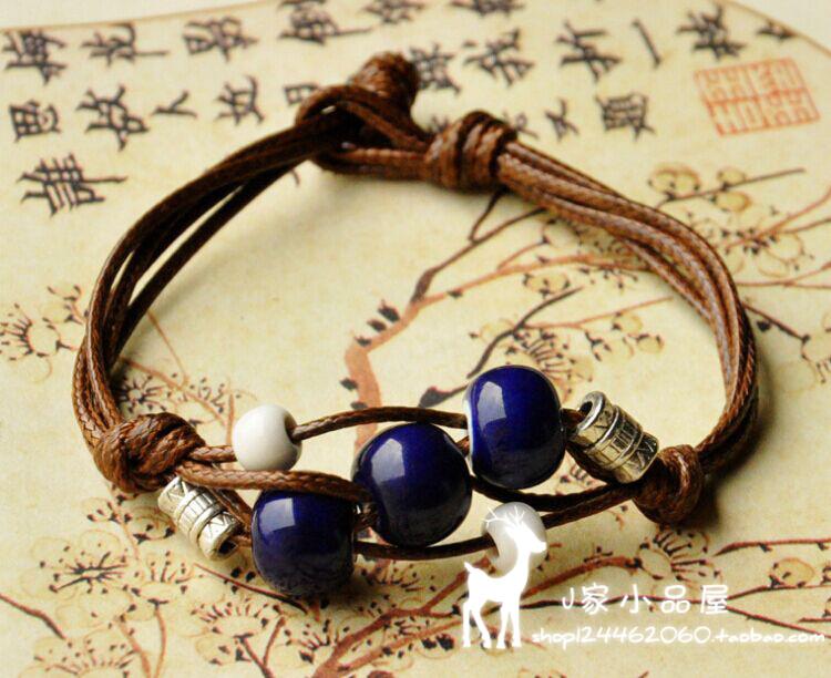 民族 首饰景德镇陶瓷手链 手工 编绳瓷珠手链绳