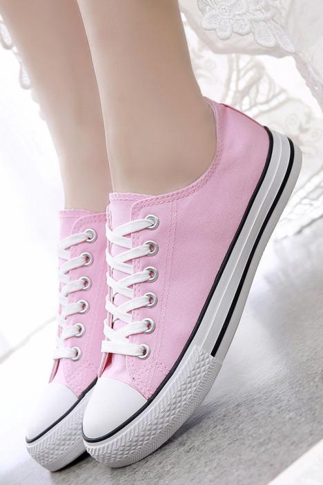 【韩版可爱粉色女生帆布鞋】-鞋子-帆布鞋