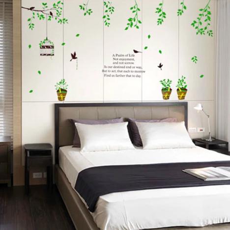 环保,花盆,清新,鸟笼,家居装饰,墙画,温馨,可爱,卡通,浪漫,客厅,背景