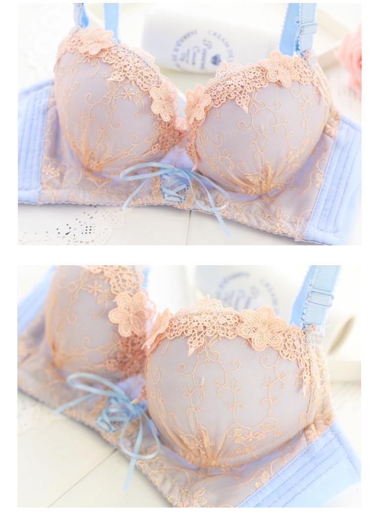歌帕 欧式宫廷甜美刺绣调整型文胸套装
