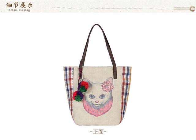 日系棉麻手绘卡通猫咪单肩包