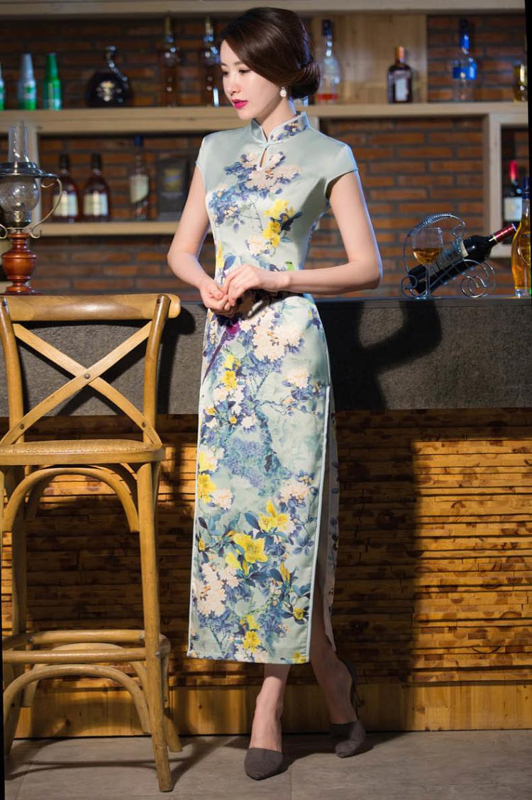 【优雅印花修身长旗袍】-衣服-旗袍
