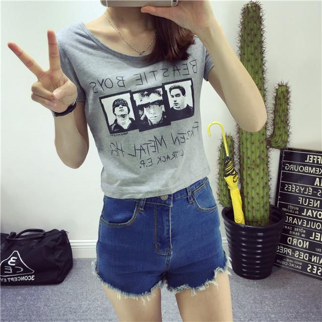 【【nice】欧美三个男人头像露脐t恤】-衣服-t恤