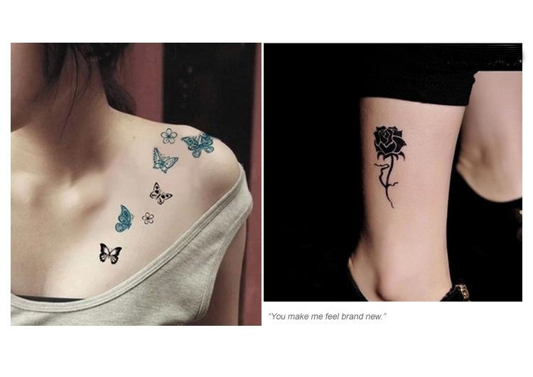 【10张装】韩国玫瑰花蝴蝶纹身贴纸-来自蘑菇街团购