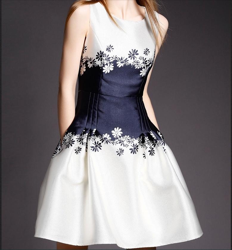 2015 欧式新款热卖 印花 奢华 修身 蓬蓬裙 连衣裙
