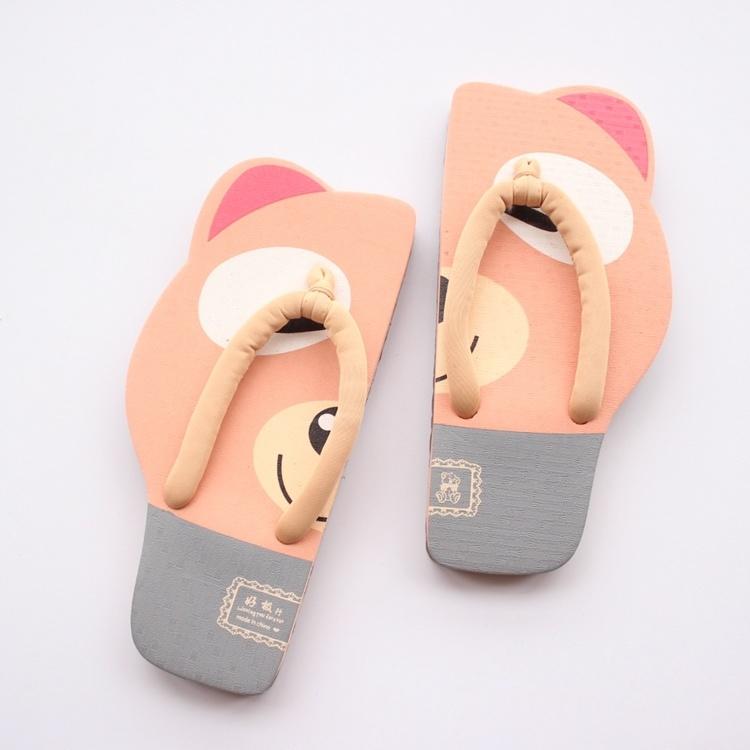 卡通可爱小熊kt猫女生人字拖沙滩夏季平跟夹脚趾创意个性凉拖鞋